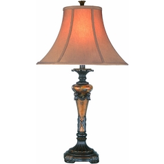 Modern Table Lamp with White Glass in Oil Rubbed Bronze Finish