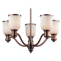 Modern Chandelier with White Glass in Antique Copper Finish