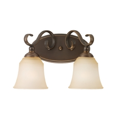 Bathroom Light with Beige / Cream Glass in Russet Bronze Finish