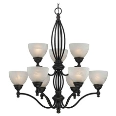 Alabaster Glass Traditional Chandelier - Bolivian Finish