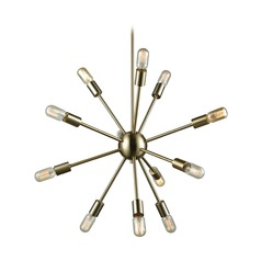 Mid-Century Modern Chandelier Brass Delphine by Elk Lighting