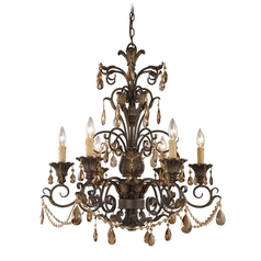Rochelle 6 Light Chandelier In Weathered Mahogany And Amber Crystal