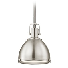 Nautical Satin Nickel Small Pendant Light 7.38-Inch Wide