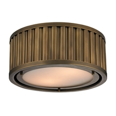 LED Flushmount Light in Aged Brass Finish