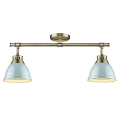Aged Brass Directional Light Green Shades by Golden Lighting