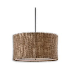 Drum Pendant Light with Beige / Cream Shade in Natural Twine Finish