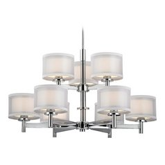 Double Organza Chrome Chandelier 2 Tier 9 Lt