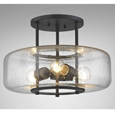 Industial Seeded Glass Ceiling Light Bronze 3 Lt