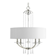Progress Crystal Drum Pendant Light with White Shade