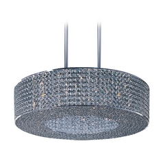 Maxim Lighting Glimmer Plated Silver Pendant Light with Drum Shade