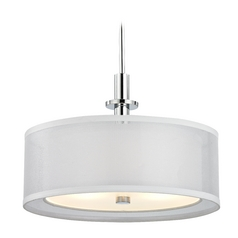 Dolan Designs Lighting Modern Drum Pendant Light with White Shades in Chrome Finish 1274-26
