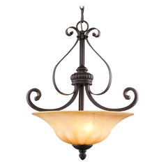 Golden Lighting Mayfair Leather Crackle Pendant Light