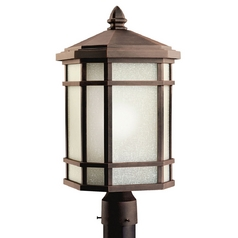 Kichler Post Light with White Glass in Prairie Rock Finish