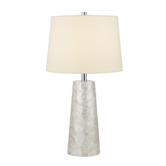 Round Pillar Table Lamp with Beige Drum Shade and Natural Shell Base