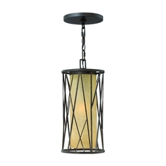 Outdoor Hanging Light with Amber Glass in Regency Bronze Finish