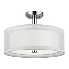 Double Organza Drum Ceiling Light Chrome 16 Inches Wide 3 Lt