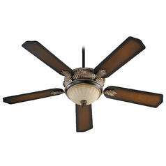 Quorum Lighting Galloway Old World with Antique Flemish Ceiling Fan with Light