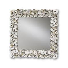 Oyster Shell Square 20-Inch Mirror