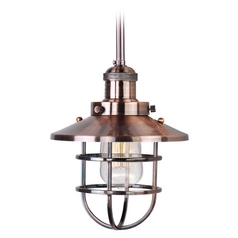 Maxim Lighting Mini Hi-Bay Antique Copper Mini-Pendant Light with Coolie Shade