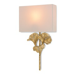 Currey and Company Lighting Gingko Chinois Antique Gold Leaf Sconce