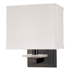 Modern Sconce Wall Light with White Shade in Old Bronze Finish