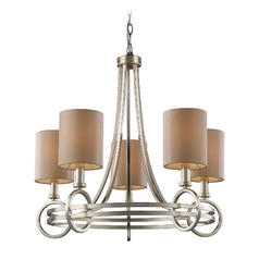 New York 5 Light Chandelier In Renaissance Silver Leaf