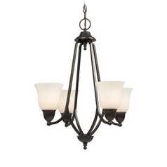 Galaxy / Excel Lighting Mini-Chandelier with White Glass in Russet Bronze Finish 810321RSB