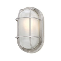 Design Classics Lighting Oval Bulkhead Marine Light with LED Bulb - 11-Inches Wide 39956 SS  LED