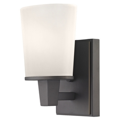 Modern Sconce Wall Light with White Glass in Bolivian Finish