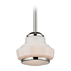 Art Deco Pendant Light Polished Nickel Odessa by Hudson Valley Lighting