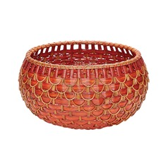 Medium Fish Scale Basket In Red And Orange