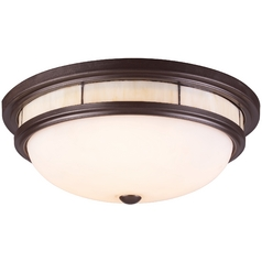 Elk Lighting Modern Flushmount Light with White Glass in Oiled Bronze Finish 70014-3