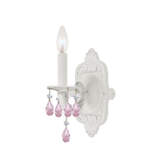 Crystal Sconce Wall Light in Wet White Finish