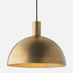Schoolhouse Electric Shelby Mod Natural Brass Pendant Light with Bowl / Dome Shade