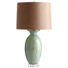 Cyan Design Deharo Olive Glaze Table Lamp with Drum Shade