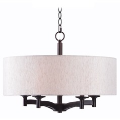 Kenroy Home Rutherford Oil Rubbed Bronze Pendant Light with Drum Shade