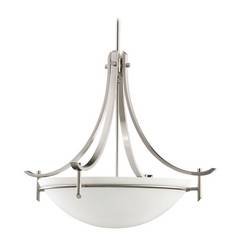 Kichler Modern Pendant Light with White Glass in Antique Pewter Finish