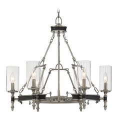 Savoy House Lighting Gramercy Polished Pewter W/ Black Leatherette Chandelier