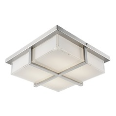 Modern Brushed Nickel LED Flushmount Light with Frosted Shade 3000K 929LM