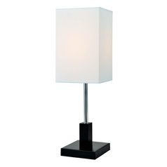 Modern Table Lamp with White Shade in Polished Steel / Walnut Finish