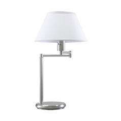 Swing-Arm Lamp with White Shade in Satin Nickel Finish