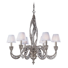 Modern Chandelier with Beige / Cream Shades in Sunset Silver Finish