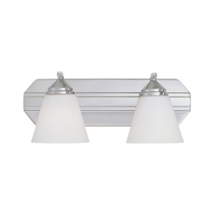 Bathroom Light with White Glass in Satin Platinum Finish