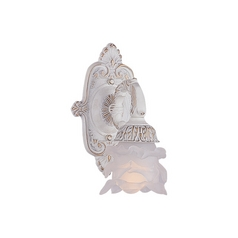 Sconce Wall Light with White Glass in Antique White Finish