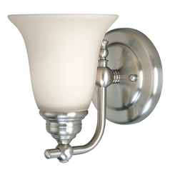 Sconce Wall Light in Satin Nickel Finish with White Bell Glass