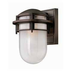 Modern Outdoor Wall Light with White Glass in Victorian Bronze Finish