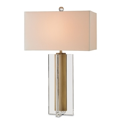 Currey and Company Lighting Clear / Brass Table Lamp with Rectangle Shade