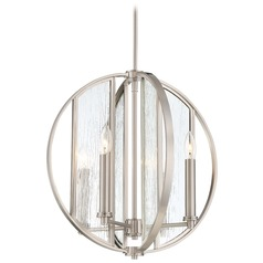 Minka Lavery Via Capri Brushed Nickel Pendant Light with Abstract Shade
