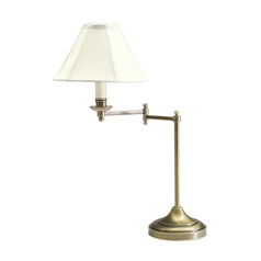 Swing-Arm Lamp with White Shade in Antique Brass Finish