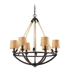 Chandelier with Brown Shades in Aged Bronze Finish